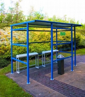 Traditional Smoking Shelter Perspex back by Shelving Store