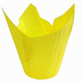 Yellow Tulip Muffin Cases 175mm x 3000 by R R Packaging Ltd