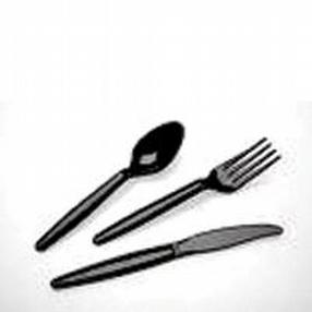 Black Plastic Heavy Duty Dessert Spoons by R R Packaging Ltd