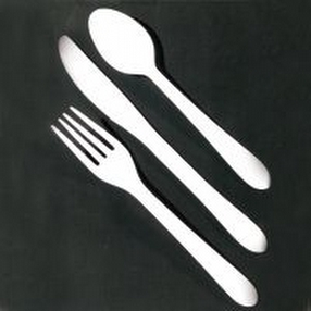 White Plastic Catering Dessert Spoons by R R Packaging Ltd