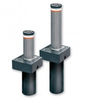 Coral and Vigilo Automated Rising Bollards by Macs Automated Bollard Systems