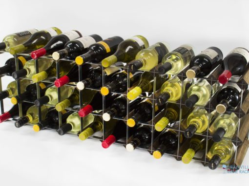 Classic 30/40 bottle cupboard top walnut stained wood and galvanised metal wine rack ready assembled by Cranville Wine Racks Ltd