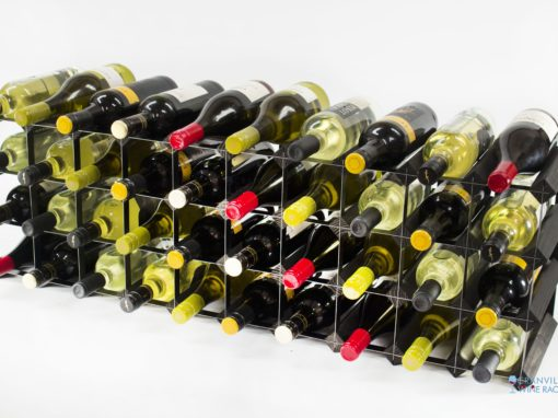 Classic 30/40 bottle cupboard top black stained wood and black metal wine rack ready assembled by Cranville Wine Racks Ltd