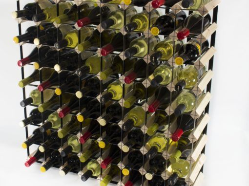 Classic 72 bottle pine wood and black metal wine rack ready assembled by Cranville Wine Racks Ltd