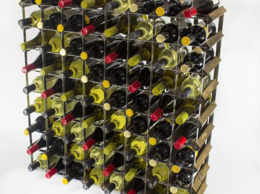 Classic 72 bottle walnut stained wood and galvanised metal wine rack ready assembled by Cranville Wine Racks Ltd
