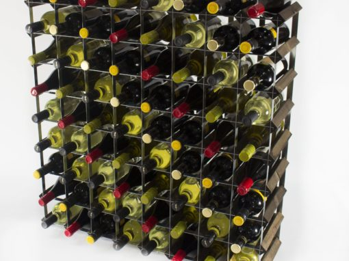Classic 72 bottle dark oak stained wood and galvanised metal wine rack ready assembled by Cranville Wine Racks Ltd