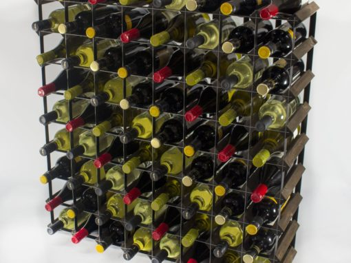 Classic 72 bottle dark oak stained wood and black metal wine rack ready assembled by Cranville Wine Racks Ltd