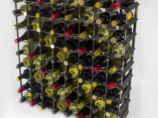 Classic 72 bottle black stained wood and galvanised metal wine rack ready assembled by Cranville Wine Racks Ltd