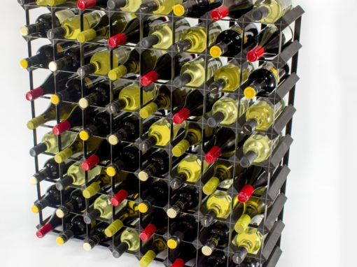 Classic 72 bottle black stained wood and black metal wine rack ready assembled by Cranville Wine Racks Ltd