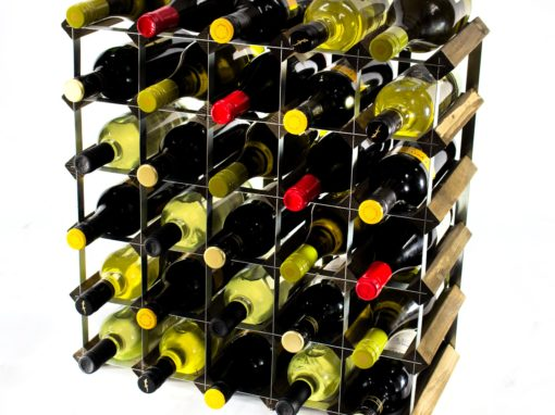 Classic 42 bottle walnut stained wood and galvanised metal wine rack ready assembled by Cranville Wine Racks Ltd