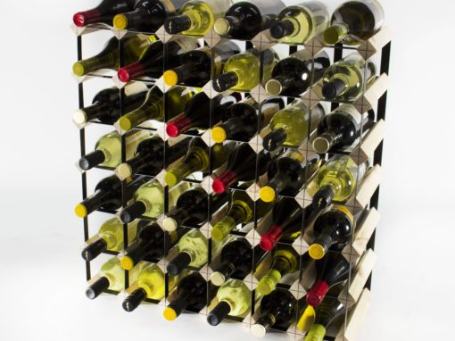 Classic 42 bottle pine wood and black metal wine rack ready assembled by Cranville Wine Racks Ltd