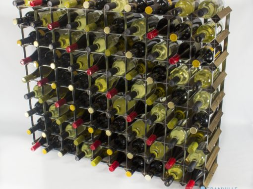 Classic 90 bottle walnut stained wood and galvanised metal wine rack ready assembled by Cranville Wine Racks Ltd