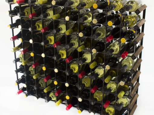 Classic 90 bottle dark oak stained wood and black metal wine rack ready assembled by Cranville Wine Racks Ltd