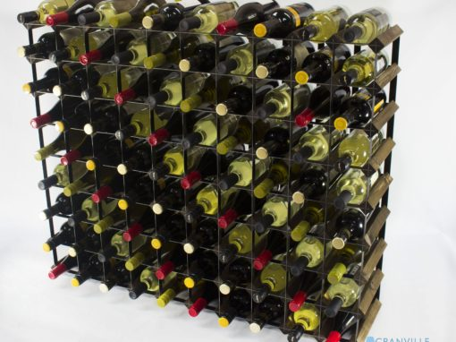 Classic 90 bottle walnut stained wood and black metal wine rack ready assembled by Cranville Wine Racks Ltd