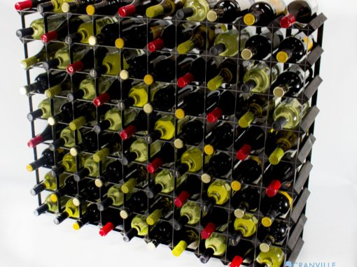 Classic 90 bottle black stained wood and black metal wine rack ready assembled by Cranville Wine Racks Ltd