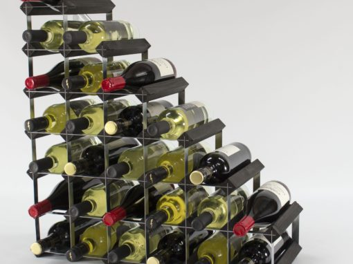 Classic understairs black stained wood and galvanised metal wine rack ready assembled by Cranville Wine Racks Ltd