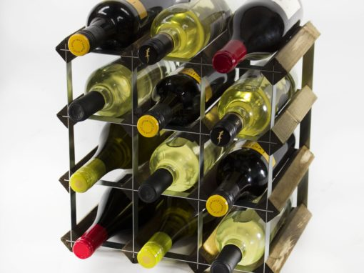 Classic 12 bottle dark oak stained wood and galvanised metal wine rack ready assembled by Cranville Wine Racks Ltd