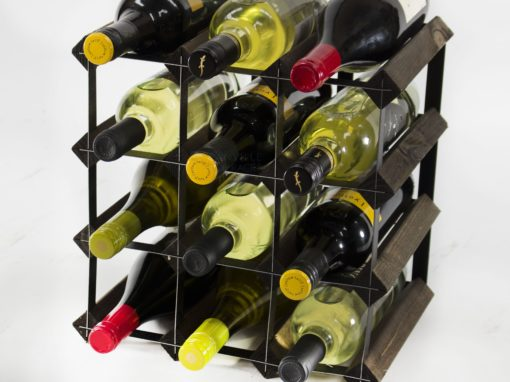 Classic 12 bottle dark oak stained wood and black metal wine rack ready assembled by Cranville Wine Racks Ltd