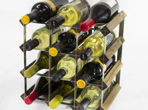 Classic 12 bottle walnut stained wood and galvanised metal wine rack ready assembled by Cranville Wine Racks Ltd