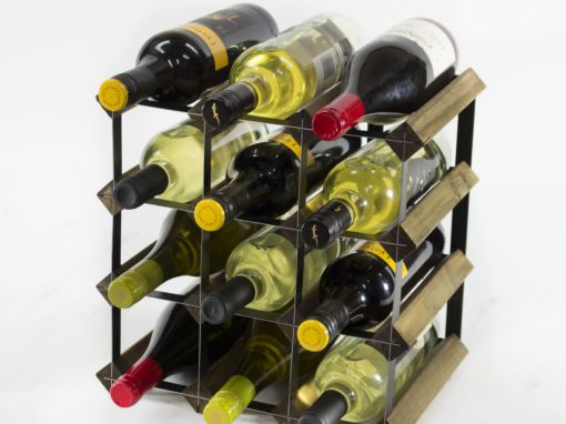 Classic 12 bottle walnut stained wood and black metal wine rack ready assembled by Cranville Wine Racks Ltd
