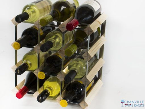 Classic 12 bottle pine wood and galvanised metal wine rack ready assembled by Cranville Wine Racks Ltd