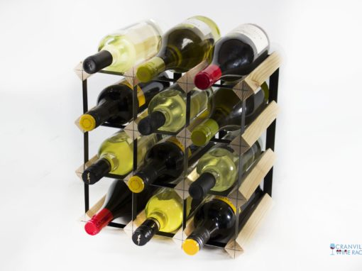 Classic 12 bottle pine wood and black metal wine rack ready assembled by Cranville Wine Racks Ltd