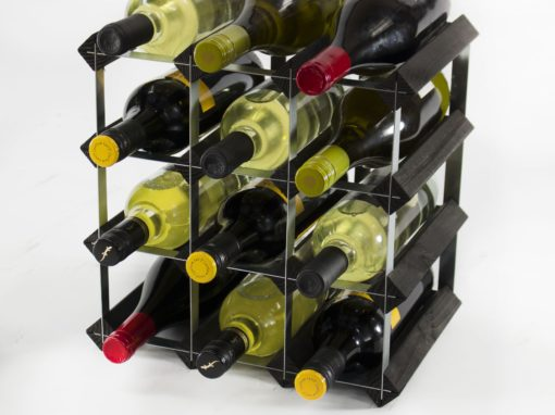 Classic 12 bottle black stained wood and galvanised metal wine rack ready assembled by Cranville Wine Racks Ltd