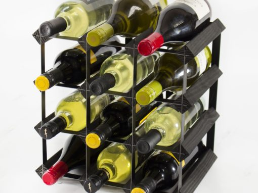 Classic 12 bottle black stained wood and black metal wine rack ready assembled by Cranville Wine Racks Ltd