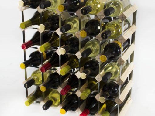 Classic 30 bottle pine wood and galvanised metal wine rack ready assembled by Cranville Wine Racks Ltd