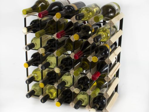 Classic 30 bottle pine wood and black metal wine rack ready assembled by Cranville Wine Racks Ltd