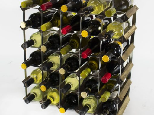 Classic 30 bottle walnut stained wood and galvanised metal wine rack ready assembled by Cranville Wine Racks Ltd