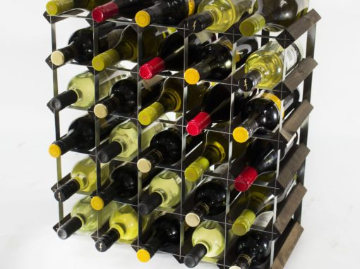 Classic 30 bottle dark oak stained wood and galvanised metal wine rack ready assembled by Cranville Wine Racks Ltd