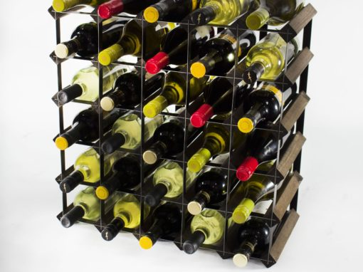 Classic 30 bottle dark oak stained wood and black metal wine rack ready assembled by Cranville Wine Racks Ltd
