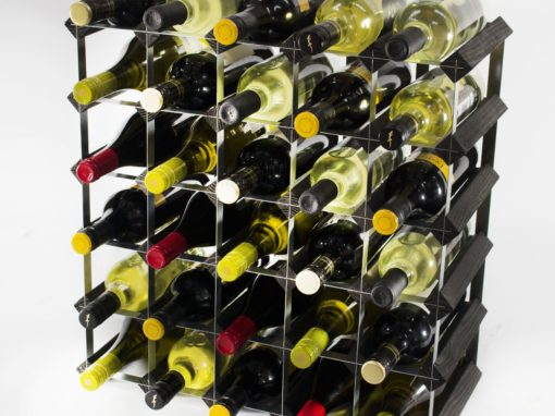 Classic 30 bottle black stained wood and galvanised metal wine rack ready assembled by Cranville Wine Racks Ltd