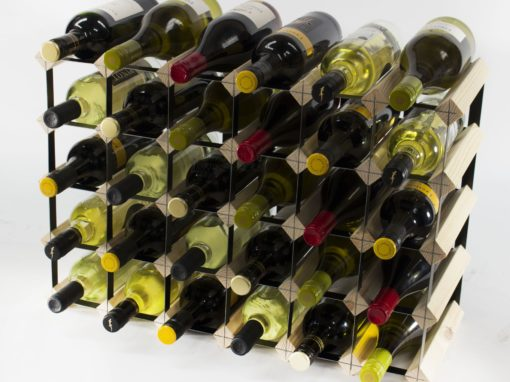 Classic 30 (6×4) bottle pine wood and black metal wine rack ready assembled by Cranville Wine Racks Ltd