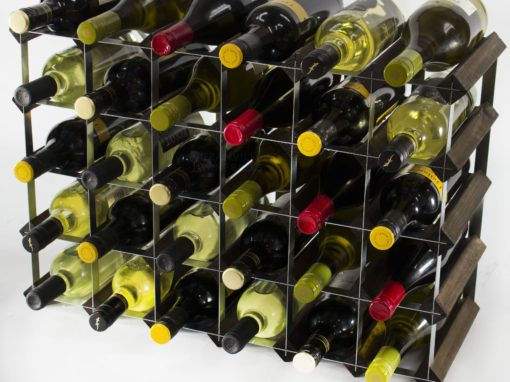 Classic 30 (6×4) bottle dark oak stained wood and galvanised metal wine rack ready assembled by Cranville Wine Racks Ltd