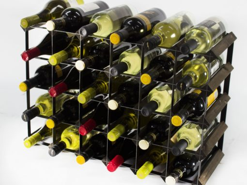 Classic 30 (6×4) bottle dark oak stained wood and black metal wine rack ready assembled by Cranville Wine Racks Ltd