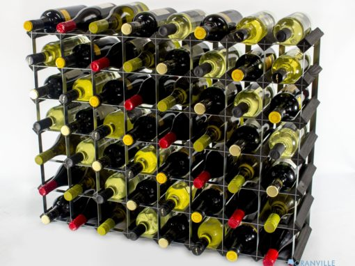 Classic 56 bottle black stained wood and galvanised metal wine rack ready assembled by Cranville Wine Racks Ltd