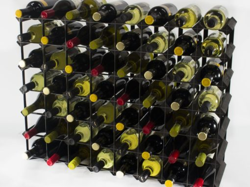 Classic 56 bottle black stained wood and black metal wine rack ready assembled by Cranville Wine Racks Ltd