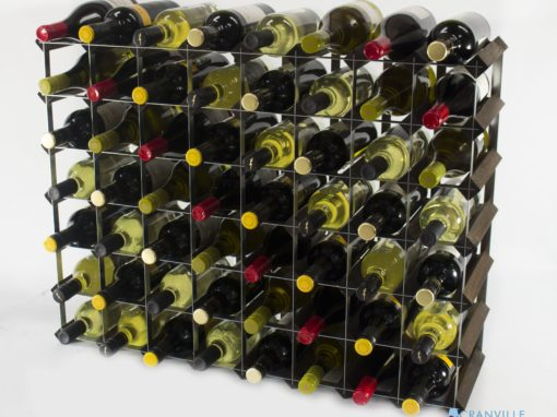 Classic 56 bottle dark oak stained wood and galvanised metal wine rack ready assembled by Cranville Wine Racks Ltd
