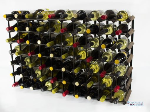 Classic 70 bottle dark oak stained wood and black metal wine rack ready assembled by Cranville Wine Racks Ltd