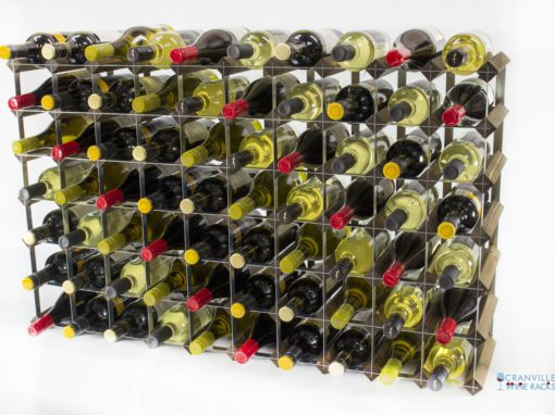 Classic 70 bottle walnut stained wood and galvanised metal wine rack ready assembled by Cranville Wine Racks Ltd
