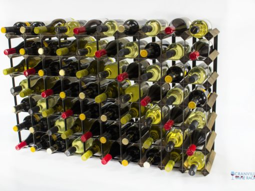 Classic 70 bottle walnut stained wood and black metal wine rack ready assembled by Cranville Wine Racks Ltd
