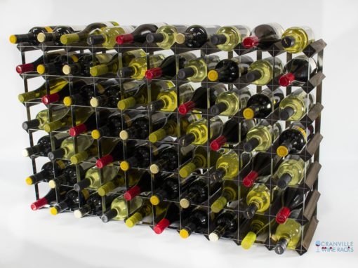 Classic 70 bottle dark oak stained wood and galvanised metal wine rack ready assembled by Cranville Wine Racks Ltd