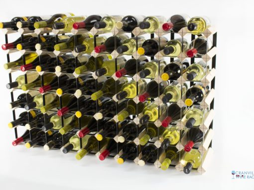 Classic 70 bottle pine wood and black metal wine rack ready assembled by Cranville Wine Racks Ltd