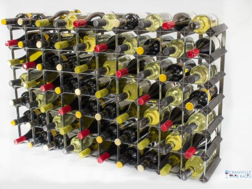 Classic 70 bottle black stained wood and galvanised metal wine rack ready assembled by Cranville Wine Racks Ltd