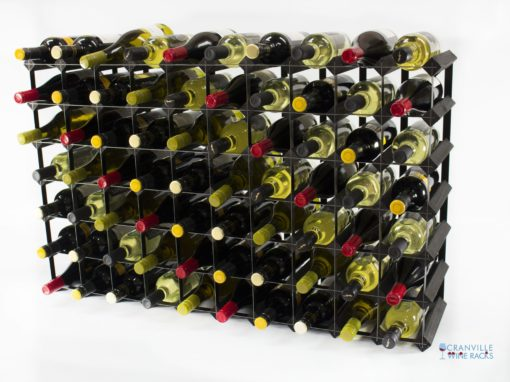 Classic 70 bottle black stained wood and black metal wine rack ready assembled by Cranville Wine Racks Ltd