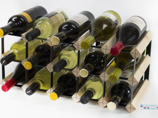 Classic 15 bottle pine wood and black metal wine rack ready assembled by Cranville Wine Racks Ltd