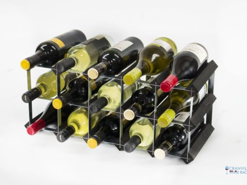 Classic 15 bottle black stained wood and galvanised metal wine rack ready assembled by Cranville Wine Racks Ltd