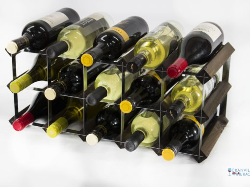 Classic 15 bottle dark oak stained wood and galvanised metal wine rack ready assembled by Cranville Wine Racks Ltd